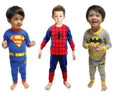 Baby Boys Kids Pajamas Sleepwear Home Wear Clothes Set Superman Batman Spiderman #PajamaSet