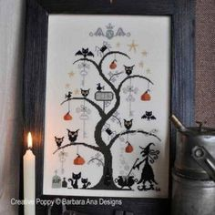"""O Halloween Tree"" is the title of this cross stitch pattern from Barbara Ana."