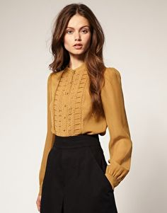 ASOS Crochet Pleat Front Blouse