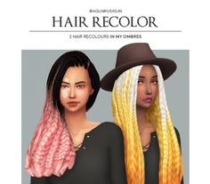 "aquarius4sun:  "" @butterscotchsims's Morning Glory Hair & @shespeakssimlish​'s The Badu Braids   - recolored in my ombres  • do not claim as your own ;)  • requires the mesh 1 // 2  • 6 of my ombre colors:  "" download  "" """