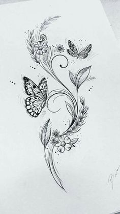 200 Photos of Female Tattoos on the Arm to Get Inspired - Photos and Tattoos - Flower Tattoo Designs - Feminin - Butterfly Drawing, Butterfly Tattoo Designs, Butterfly On Flower Tattoo, Vine Tattoos, Body Art Tattoos, Tattoos Cover Up, Nature Tattoos, Tatoos, Small Flower Tattoos