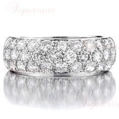 HARRY WINSTON 3-Row Pave Diamond Platinum Wedding Band image 4