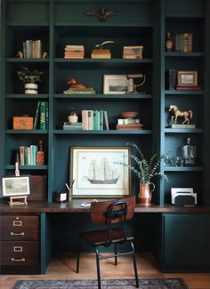 Home Library Design, Home Office Design, Home Office Decor, House Design, Home Decor, Vintage Office Decor, Office Furniture, Office Built Ins, Built In Desk
