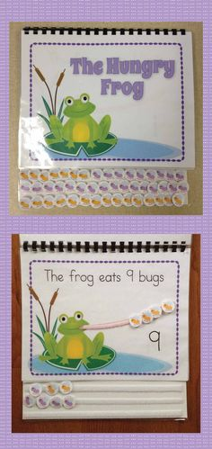 Interactive frog counting book: A great addition to your math learning center or to your collection of busy books/ lap books. Provides hands on opportunities to practice counting, patterning, construction/deconstruction numbers, and addition. A great interactive and differentiated math activity for preschool, pre-k, early childhood, kindergarten..