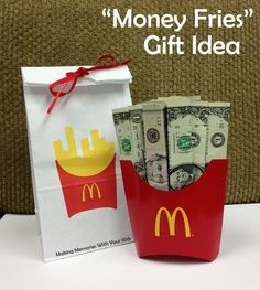 We're always looking for fun ways to give money to family and friends. A check is nice, don't get me wrong, but it's not very much fun to open. Especially for a younger person (aka, a kid.) So when I saw this idea on Pinterest, I knew it was a keeper. Come on…. Money Fries!!!! …
