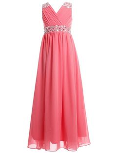 FAIRY COUPLE Girl's Embellished V-neck Long Flower Girl Dress for Wedding K0156 10 Coral
