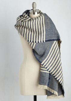 Central Park Cinema Scarf in Blueberry - Blue, Cream, Stripes, Casual, Fall, Knit, Better, Best Seller, Best Seller