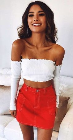 #fall #outfits women's white off-shoulder long sleeve crop top and red denim mini skirt