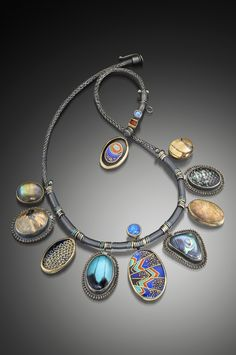 Jeanie Pratt | MARIPOSA | Argentium silver, fine silver, 24K gold, 22K gold, 18K gold, niobium, copper, abalone, fossilized coral, labradorite, rutilated quartz, quartz crystal, opals, carnelian,  freshwater cultured pearls, glass, enamel, blue mountain swallowtail wing Papilio ulysses Ulysses), Eastern Tiger Swallowtail wing  (Papilio glaucus); Cloisonné enamel, hand woven and enameled copper and gold, looped gold inlaid in enamel, Viking knit, lashed, anodized, etched, fabricated