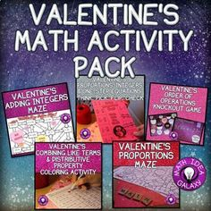 This collection of 5 activities will get students engaged practicing a variety of foundational math topics. Lots of fun ways to practice math while having some seasonal fun. Integers Activities, Math Activities, Math Games, Math Resources, Adding And Subtracting Integers, Combining Like Terms, One Step Equations, Middle School Writing, Order Of Operations