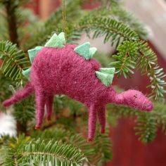 Stegosaurus - Needle Felted Christmas Ornament. $32.00, via Etsy.
