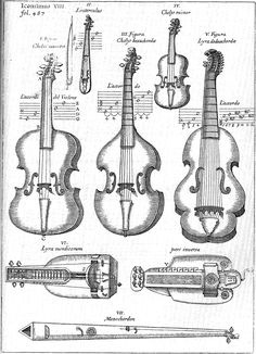 """Athanasius Kircher, Bowed string instruments of 17th century Europe, labeled in Latin, from """"Musurgia Universalis"""", Rome 1650, book VI, chapter II, plate 8, pp. 486-487."""