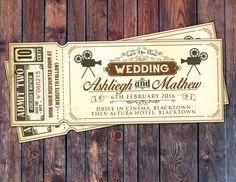 Vintage Retro Save the Date Ticket Announcement wedding invitation engagement wedding shower old Hollywood  Cinema retro cinema ticket (20.00 USD) by LyonsPrints