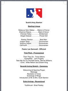 Vintage Baseball Wedding Our Program