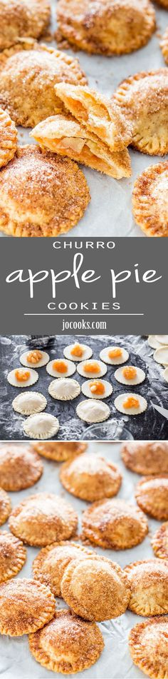 Churro Apple Pie Cookies - Adorable little apple pies, churro style! They're crispy, crunchy and a lot of sugary goodness!