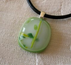 Green and white fused pendant