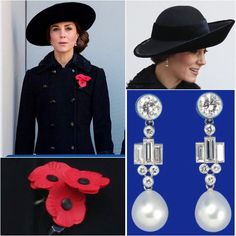 WKW ♛ Diane von Furstenberg Double Breasted Coat ♥ HM's Sheikh of Bahrain Diamond & Pearl Drop Earrings ♥ John Boyd Black Brimmed Hat ♥