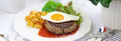 Bifteck haché de cheval - francuski burger z jajkiem #intermarche #jajko Hamburger, Steak, Beef, Ethnic Recipes, Food, Horse, Meat, Essen, Steaks
