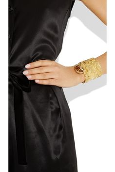 Yves Saint Laurent|Arty gold-plated glass cuff