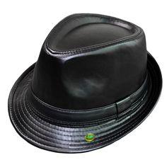 Men Women PU Leather Fedora Short Upturn Brim Hat Cap Black