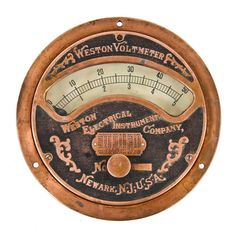 dated c. 1907 original and fully functional american industrial copper-plated cast iron commercial building basement switchboard voltmeter