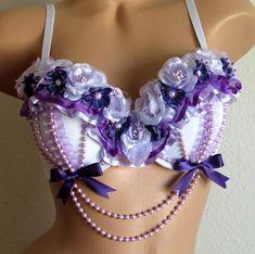 Rave Bra - Purple Lavender Flowers, White Bra, EDC Bra, Rave Clothes, Rave Pixie, Dance Wear, Burning Man, Pastel Goth, Burlesque Bra ♡