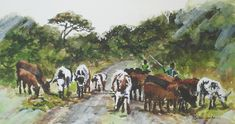 Nguni herd near Amatikulu, KZN, South Africa. Watercolour on Paper. 265 x SOLD. African Theme, South African Artists, Watercolours, Wealth, Watercolor Paintings, Wildlife, Paper, Water Colors, Watercolour Paintings