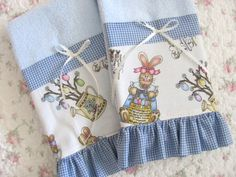 EASTER Bunny & Eggs  Blue Terry Kitchen or by TheCelticCottage, $20.00