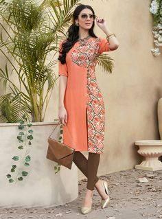 Buy Peach Rayon Readymade Kurti 120326 online at lowest price from our mens indo western collection at m.indianclothstore.c. Simple Kurti Designs, Kurta Designs Women, Girls Boutique Dresses, Kalamkari Dresses, Kurta Neck Design, Pakistani Wedding Outfits, Dress Neck Designs, Kurti Designs Party Wear, Mode Hijab