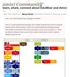 Amici is a visual programming language which enables programming novices to program Arduino boards without having to master the textual programming language Arduino.  |  by DIMEB Bremen http://dimeb.informatik.uni-bremen.de/index.php?id=27&L=1
