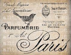 Antique French Perfume Labels Paris France Bird Digital Download for Papercrafts, Transfer, Pillows, etc.Burlap No 2913
