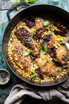 Garlic Butter Creamed Corn Chicken | halfbakedharvest.com #chicken #corn #summer #easy #dinner