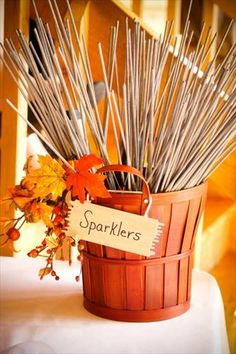 Party/Wedding idea...Sparks fly when two people fell in love. Fall/October wedding <3 Found the perfect Fall wedding idea??? We can create the favors to match Visit us at DaSweetZpot.com