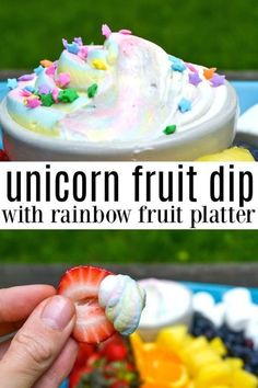 This unicorn fruit dip is sure to be  a hit with any unicorn lover - and the rainbow fruit platter is mom approved! Dip fresh fruit in a rainbow platter in a pastel swirled sweet fruit dip that will have mouths watering. Serve at your next unicorn party for the perfect homemade unicorn treat! #unicorn #unicornfood #rainbowfruit #fruitplatter #unicornparty via @morganmanages