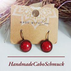 Cabochon Ohrringe Ohrstecker Ohrhänger 12mm dunkel rot, Edelstahl oder Bronzefassung