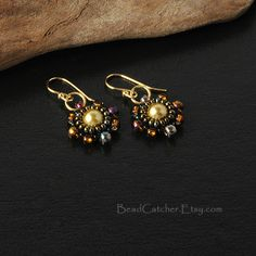 beadwoven earrings by BeadCatcher on Etsy
