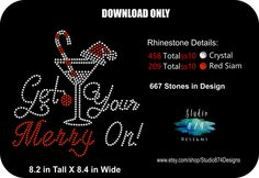 Rhinestone Transfer Template Pattern Stencil Christmas - Get Your Merry On Holiday  Drinking Wine t-shirt Bling - DIY - Download GNO - pinned by pin4etsy.com