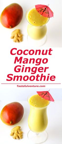 This Coconut Mango Ginger Smoothie is so creamy and delicious, plus it's Dairy Free! | http://Tastefulventure.com