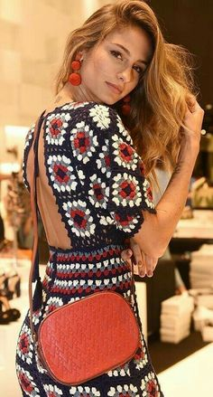 # crochet fashion boho hippie bohemian Sexy Crochet Pants Jumpsuit Festival Granny Squares Multicoloured Hippie Boho Gypsy Carnaby Bohemian Vintage Backless Gifts for Her Vintage Crochet Dresses, Crochet Summer Dresses, Summer Dress Patterns, Crochet Pants, Crochet Clothes, Crochet Lace, Crochet Jumper, Doilies Crochet, Bohemian Mode