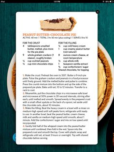 Peanut Butter Pie-- recipe seems to be the one I made when I was a kid. (Only I cheated and bought crust.)