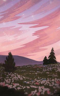 Anime Scenery Wallpaper, Aesthetic Pastel Wallpaper, Aesthetic Backgrounds, Aesthetic Wallpapers, Flower Wallpaper, Landscape Wallpaper, Wallpaper Desktop, Nature Wallpaper, Lock Screen Wallpaper
