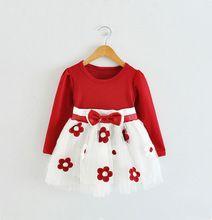 2016 nova 3 cores flores meninas vestidos para o casamento e festa traje do bebê inverno rendas roupa dos miúdos da princesa menina Tutu vestido(China (Mainland))