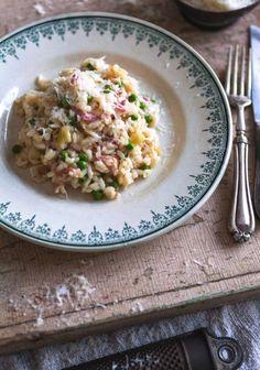 Risotto aux poireaux, pancetta & petits-pois