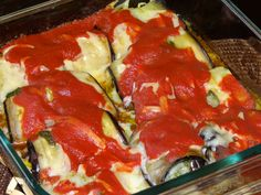 Eggplant roll ups....  Grill eggplant till soft...  Add a layer of pesto...  Add a layer of cheese...  Add some tomatoe sauce...  Bake 400 for 20.... done!!!!