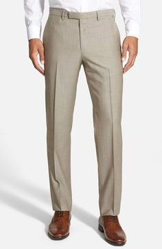 BOSS Flat Front Solid Wool Trousers