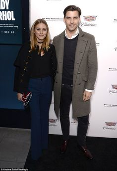 Attractive couple: Olivia Palermo and Johannes Huebl attend the celebration of 'The Tale of Thomas Burberry' with Sienna Miller and Dominic West at Burberry Soho on November 14 2016