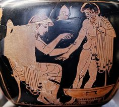 "collective-history:""Physician treating a patient. Red-figure Attic aryballos. Courtesy of the Louvre Museum   The first known Greek medical school opened in Cnidus in 700 BC. Alcmaeon, author of the first anatomical work, worked at this school, and it was here that the practice of observing patients was established. Ancient Greek medicine revolved around the theory of humours."""