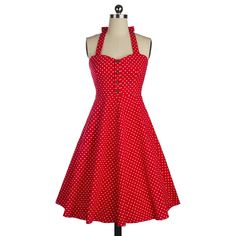 Audrey Hepburn vintage polka dot halter neck swing dress women cocktail party sweet sexy 50s 60s dresses robe vestidos de fiesta *** See this great product.