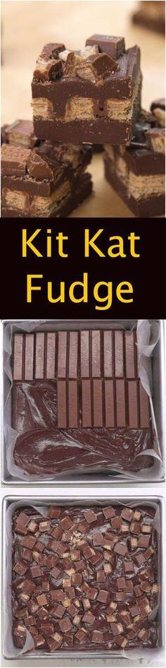 Kit Kat Fudge (Nutella No Baking Cookies) Fudge Recipes, Candy Recipes, Sweet Recipes, Baking Recipes, Dessert Recipes, Dessert Bars, Dessert Table, Sweet Treats, Yummy Treats