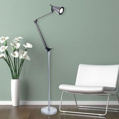 Windsor Home LED Adjustable Floor Lamp 6 Feet (Silver Floor Lamp) (Plastic)